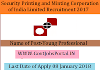 Security Printing and Minting Corporation of India Limited Recruitment 2018– Young Professional