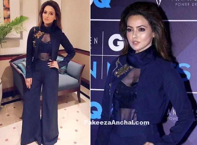 Sana Khan in Nikita M Haisalakar Navy Blue pantsuit