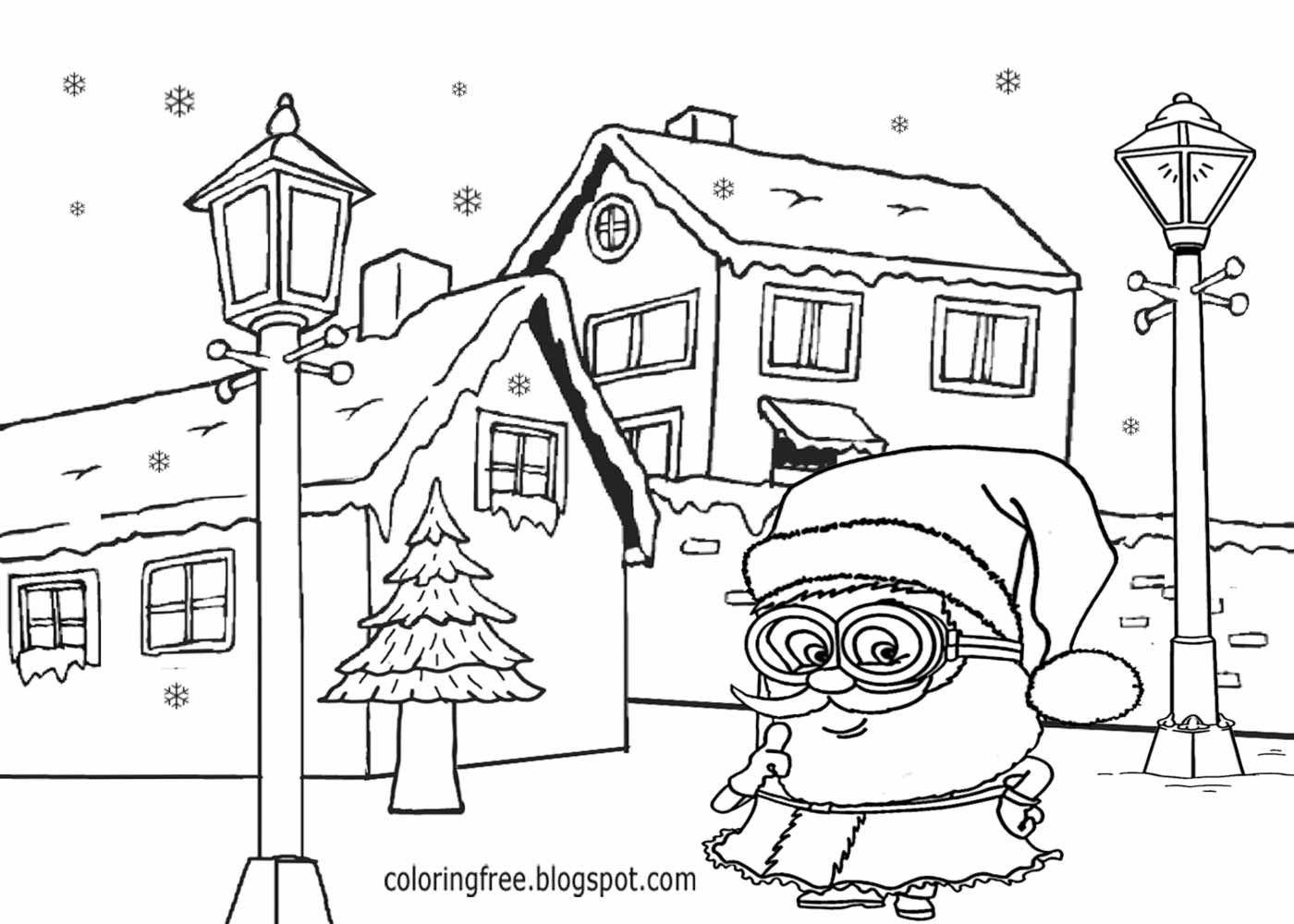 coloring minion pages with santa - photo#15