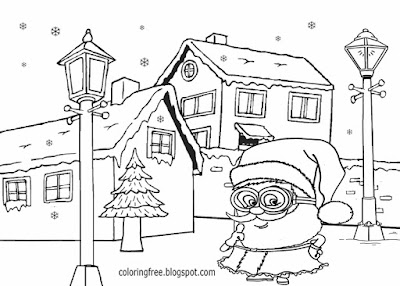Santa gift delivery white Christmas snow clipart winter minion coloring pages free for kids to print