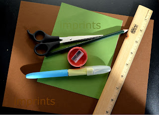 paper, knife, scissors, ruler for paper weave bookmarks