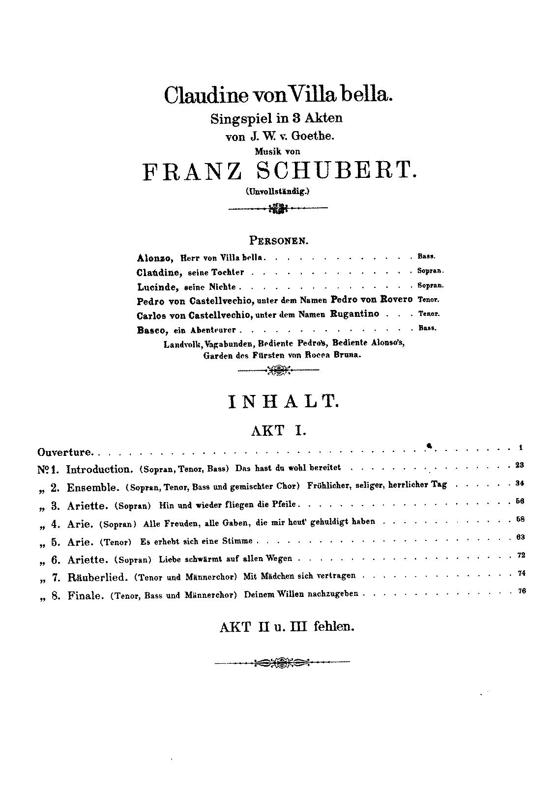 Friedrichs Arie from Die Zwillingsbrüder D647 - Score