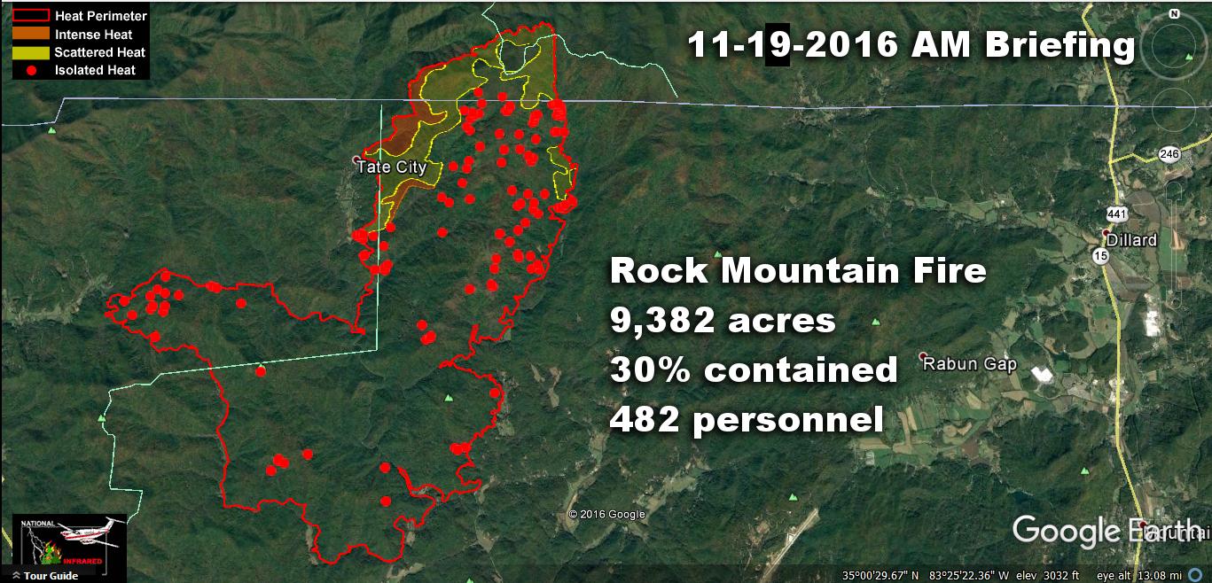 Rock Mountain Fire  Google Earth Edition  Nov 19th AM Briefing