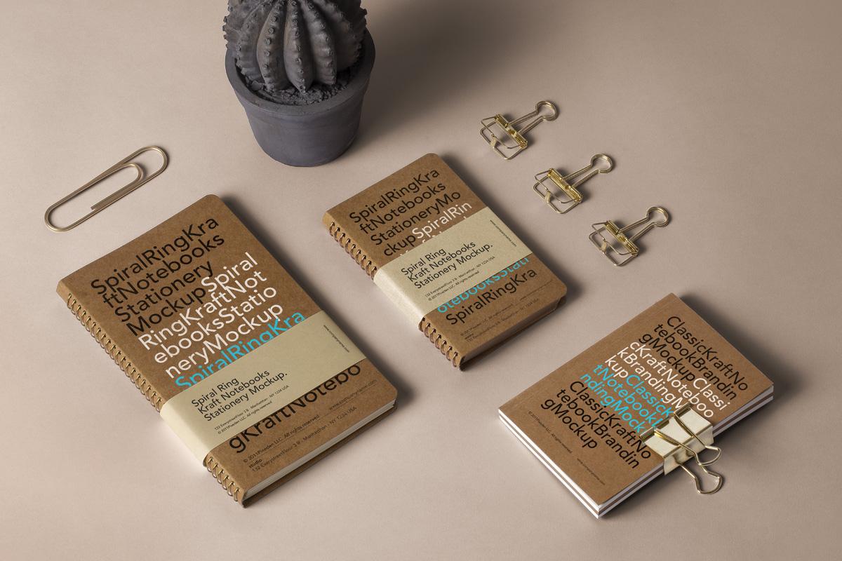 Spiral Notebooks PSD Mockup