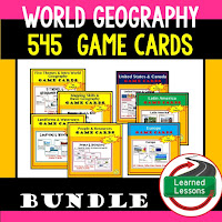 World Geography Game Cards, Test Prep, Mapping Skills, Five Themes, People and Resources, United States, Canada, Europe, Latin America, Russia, Middle East, North Africa, Sub-Saharan Africa, Asia, Australia, Antarctica