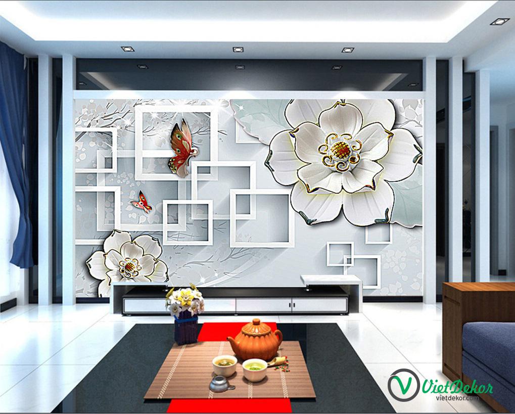 Tranh dán tường 3d hoa bướm trang trí phòng ngủ