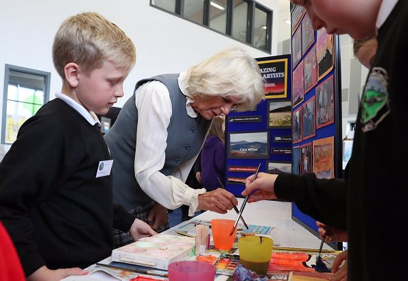 The Duchess of Cornwall visited Alford Community Campus in Scotland and met schoolchildren who use the centre.