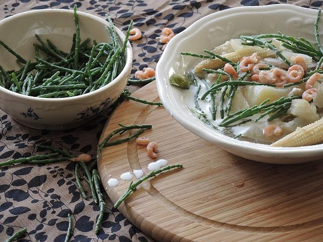 recept: vispotje met grijze garnalen en zeekraal