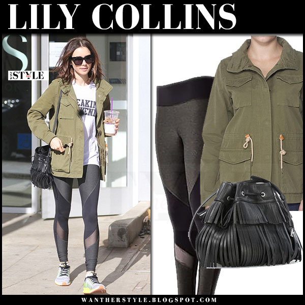 Lily Collins in green canvas levis field jacket, black leggings and sneakers what she wore streetstyle
