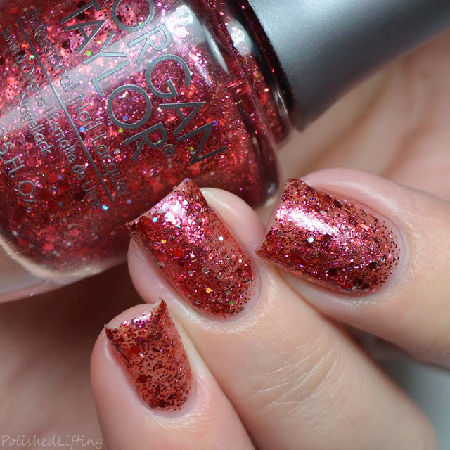 red glitter holo nail polish