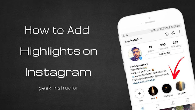 Add highlights on Instagram