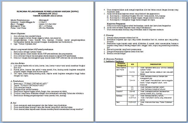 Contoh RPPH PAUD Model Kelompok Kurikulum 2013 Format Microsoft Word