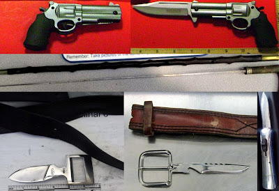 Top to Bottom - Left to Right: Gun Knife (TLH), Cane Sword (CLE), Belt Buckle Knife (LAX), Belt Buckle Knife (OMA), Switchblade (EWR)