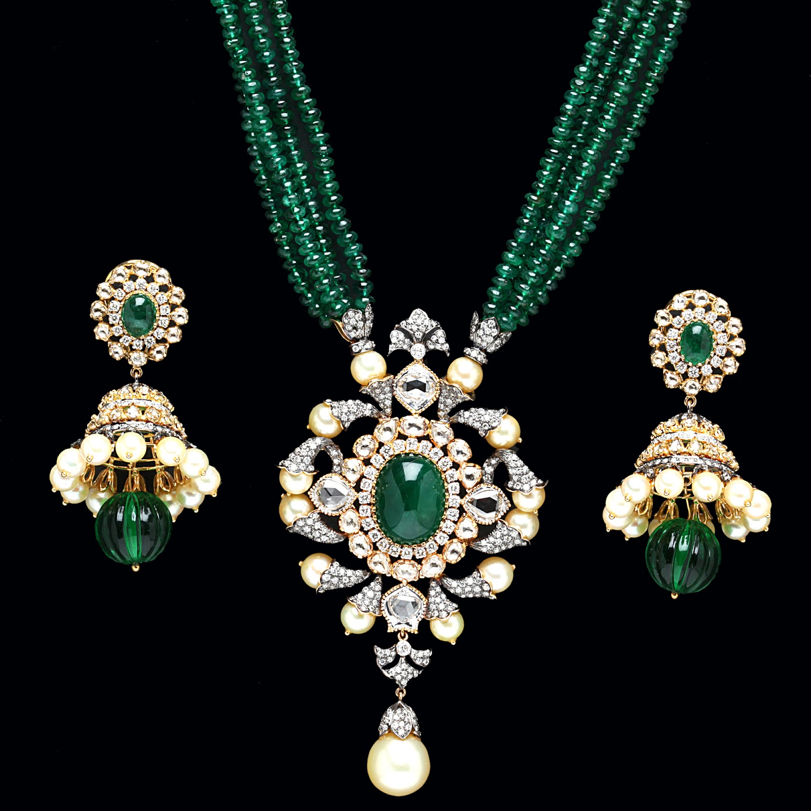 Pearl Jewellery Necklace >> Indian Jewellery and Clothing: Emerald Pendant sets from PC Jewellers..