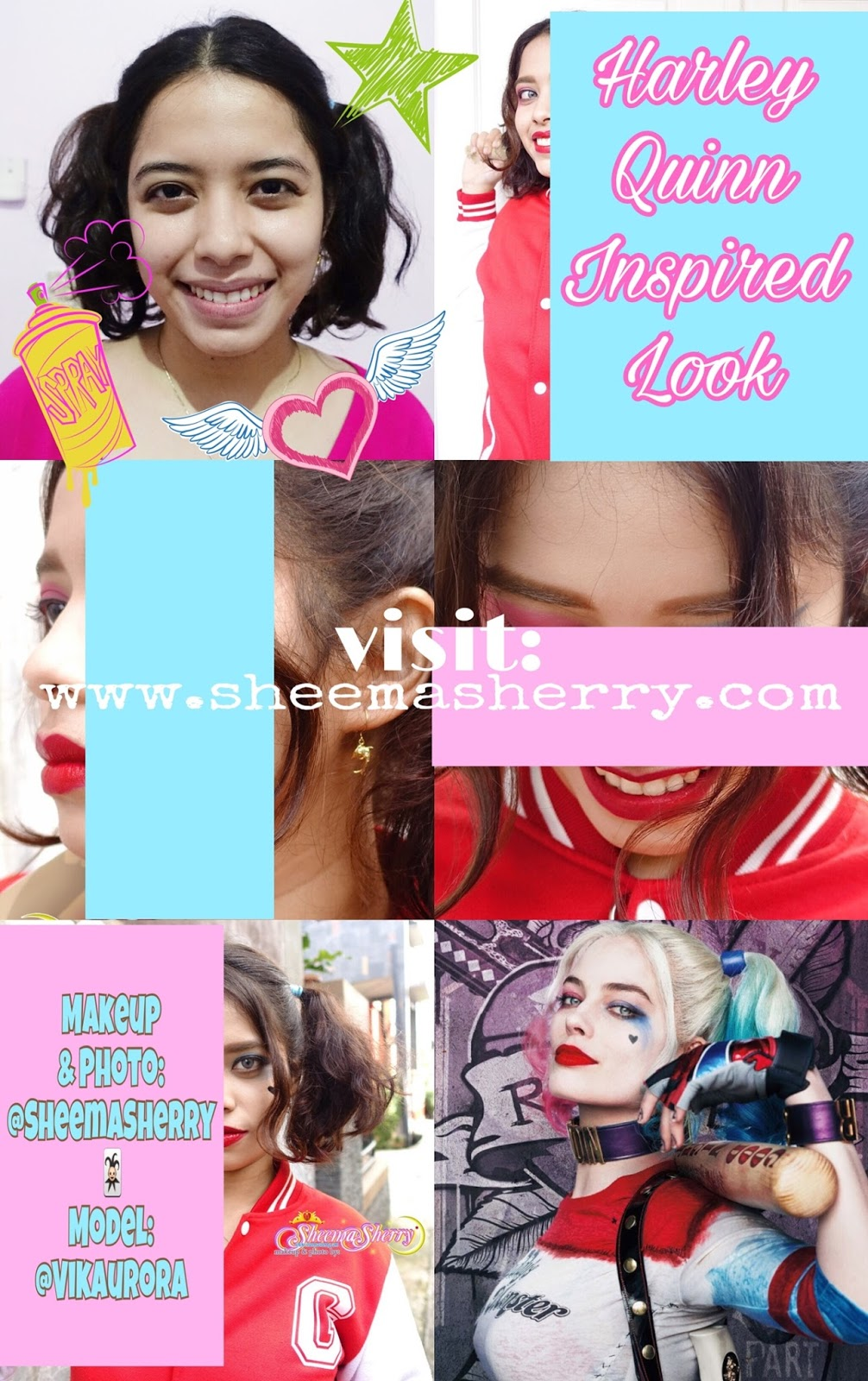 INSPIRED LOOK HARLEY QUINN from SUICIDE SQUAD Makeover Play cosplay margot robbie low budget cosplay DC Comics Joker Sheema Sherry Kawaii Hijabi