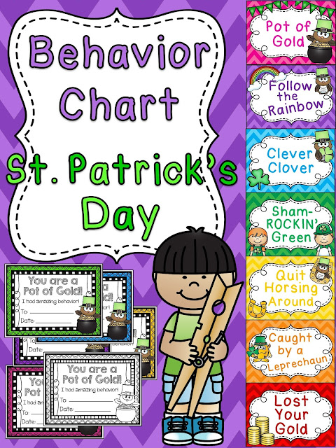 St. Patrick's Day behavior chart - I love how she switches out her behavior charts each month to keep it exciting! This one for March is too cute!