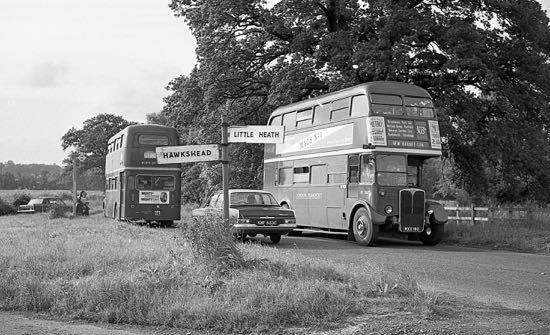 Photograph of a 303A bus at the Hawkshead triangle in the 1960s. Image from Ron Kingdon, part of the Images of North Mymms collection