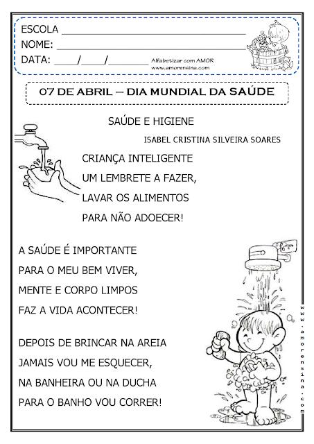 Atividade para o Dia Mundial da Saúde - 7 de abril.
