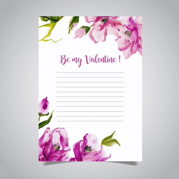 Watercolor Valentine Love Letter Free Vector