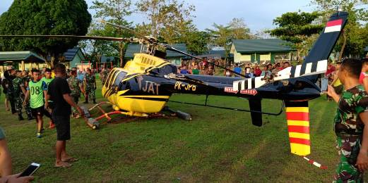 Terbang Dari Bantaeng Tujuan, Makassar, Sebuah Heli Mendarat Darurat di Jeneponto