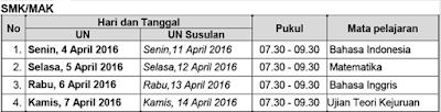 Jadwal UN SMK dan MAK 2016