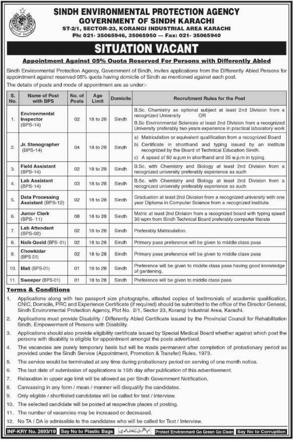 Advertisement of Sindh Environmental Protection Agency Jobs