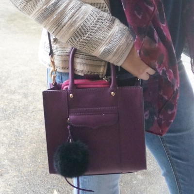 Rebecca Minkoff purple mini MAB tote plum with pink Ava wallet leopard print scarf | AwayFromTheBlue