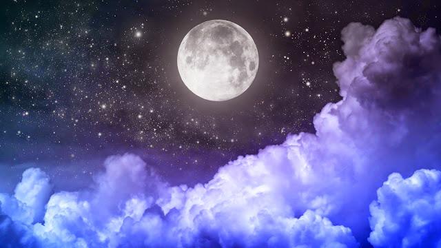 Fondo de Escritorio Luna Llena y Estrellas Brillantes