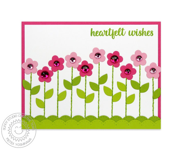 Sunny Studio Stamps: Flower Border Card using Stitched Scallop Border Dies and Free Leaf Die with Purchase