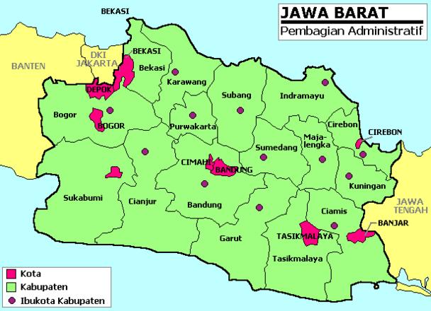Daftar Nama Kabupaten dan Kota di Jawa Barat