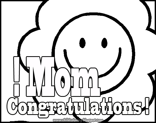 Mother´s Day Coloring: Congratulations Mom