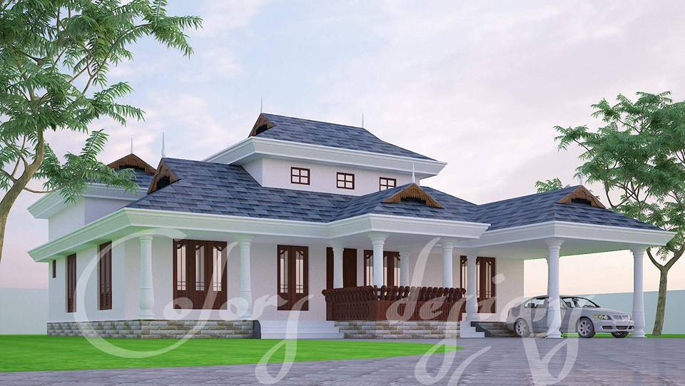 4 Bedroom Traditional Kerala Home Plan With Poomukham
