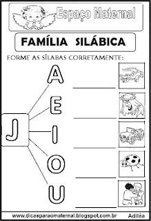 Família silábica alfabetização letra J