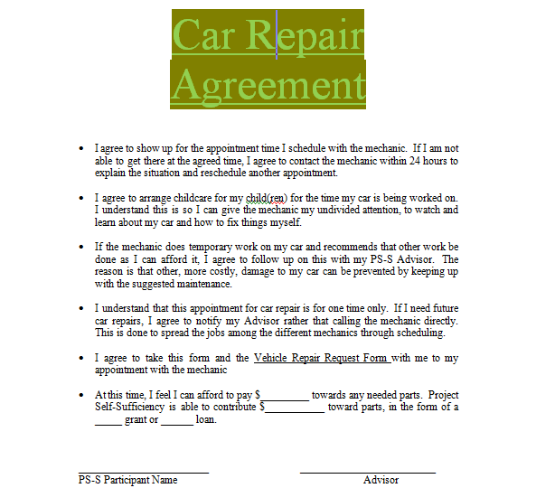 Car Repair Contract Sample To Download In Doc Word Sample