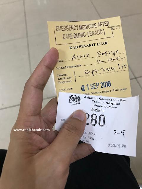 Berjumpa doktor di Jabatan Kecemasan Hospital Kuala Lumpur