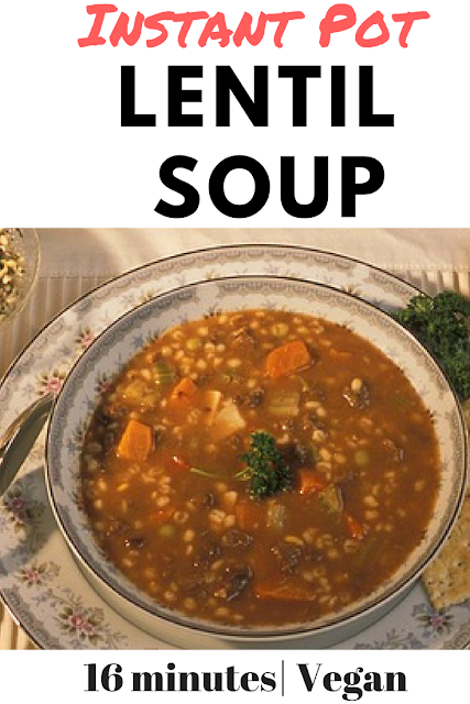 bowl of vegan and gluten free lentil soup