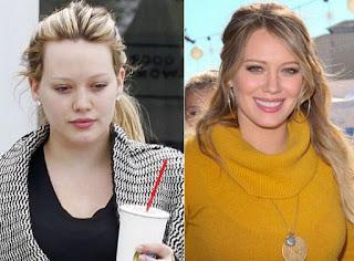 fotos de famosos antes e depois da maquiagem - Hilary Duff