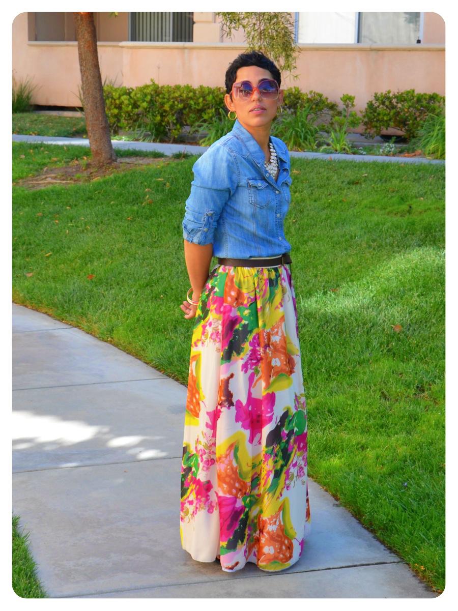 OOTD: DIY Watercolor Maxi Skirt & Denim Shirt + New Recipe ...