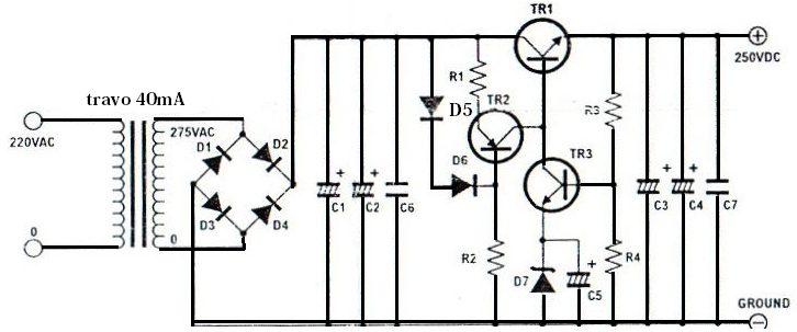 high voltage regulator circuit electronic circuit rh elcircuit com high current voltage regulator schematic Variable 450 Volt Regulator Schematic