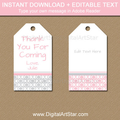 printable pink and gray tags for baby shower, wedding, first birthday party