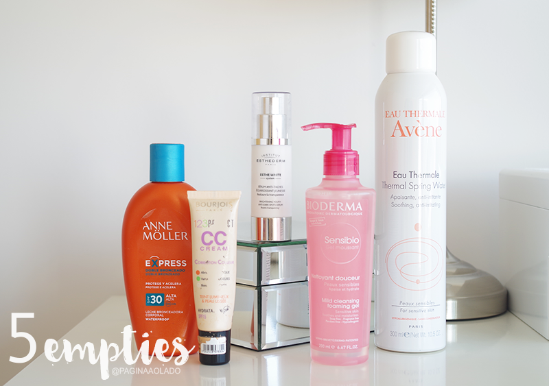 Empties, beauty, makeup, anne moller, esthederm, bioderma, avene, bourjois