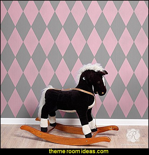 Harlequin Pattern Wall Stencils  Harlequin decor - diamond design  - Harlequin pattern decorating - diamond pattern decor - harlequin stencils - Geometric wall stencils - Harlequin Furniture Stencil  -  Harlequin wallpaper -