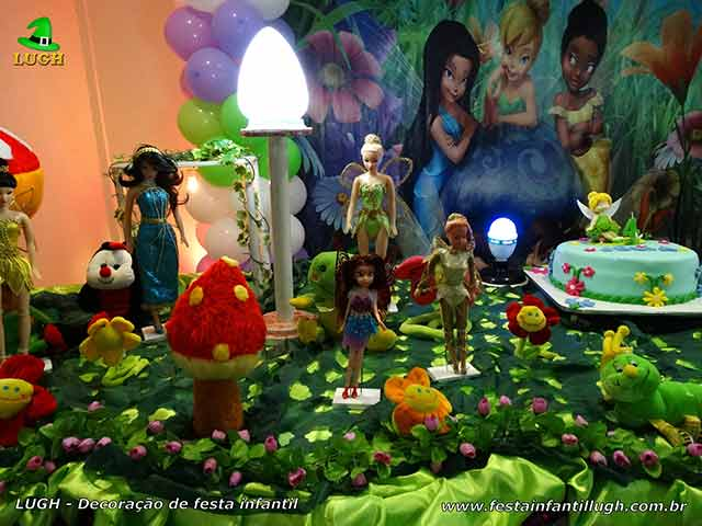 Mesa decorativa infantil Tinker Bell (Sininho) para festa de aniversário