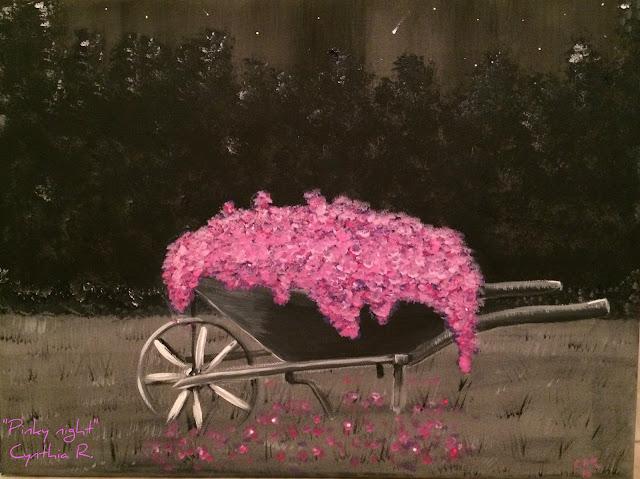 Carretillo con flores, noche estrellada, Cynthia R. Arte don y pasión