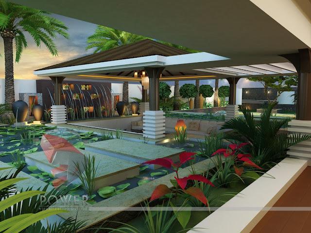 Contemporary Garden 3D Design In Villa
