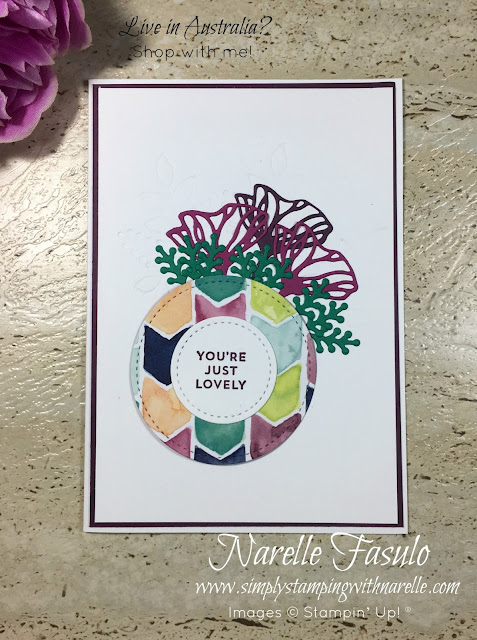 Just one of the projects made in my Stamping By Mail Class - A craft class sent to your door, with full colour photos and instructions. Buy the products and the project kits, or just the project kits. Explore your creativity in the comfort of your own home. See all the details here - http://www.simplystampingwithnarelle.com/p/stamping-by-mail.html