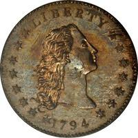 Flowing hair hopeadollari 1794