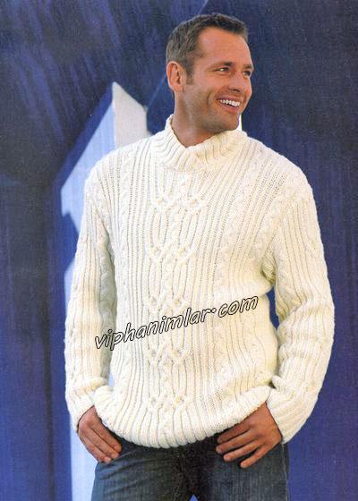 Beyaz erkek kazak modeli-viphanimlar.com