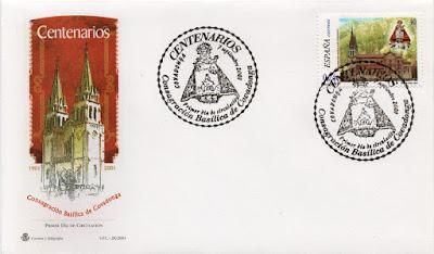 Sobre PDC de Covadonga, del sello dedicado al Centenario de la Consagración de la Basílica.