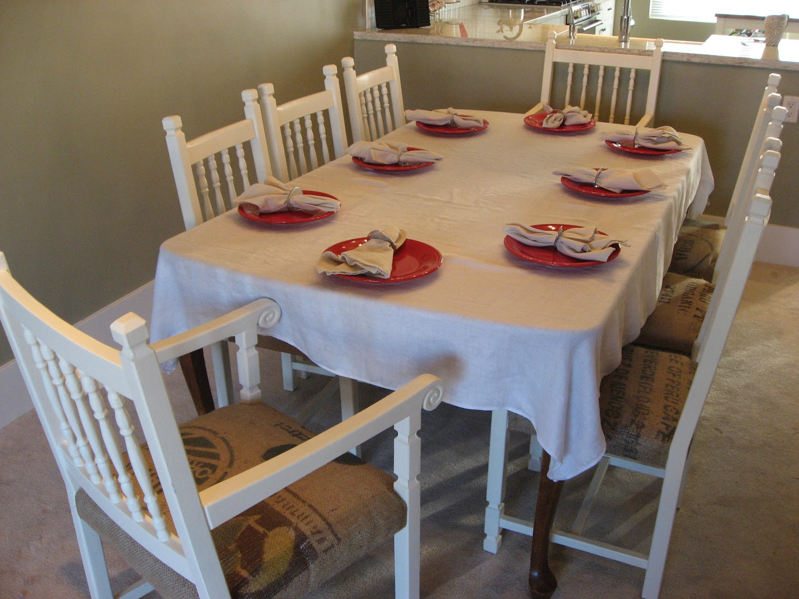 Burlap Dining Chairs Heather 39s Creations Dining Chairs Upholstered With Burlap